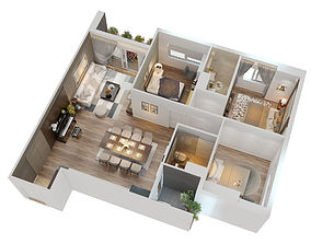dining 3D CUTAWAY MODERN APARTMENT FULL FURNITURES