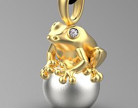 pendant frog 3D print model gold
