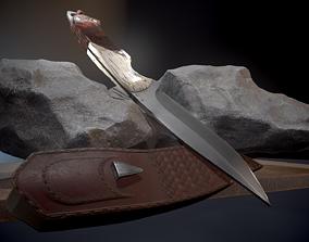 Knife and sheath 3D asset