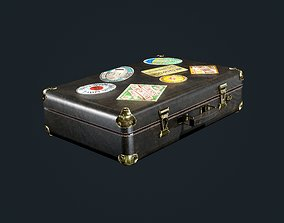 Leather Suitcase Luggage Low Poly Game Ready 3D asset