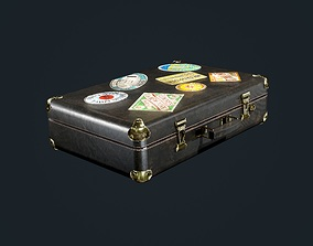 3D model Leather Suitcase Luggage Low Poly Game Ready