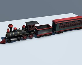 Low Poly Steam Engine Train 3D asset