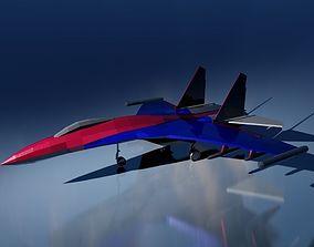 Low-poly SU-35 3D asset
