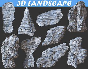 3D asset Low poly Cliff Formation Rock
