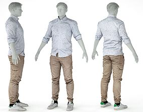 Male Casual Outfit 1 Shirt Pants 3D model