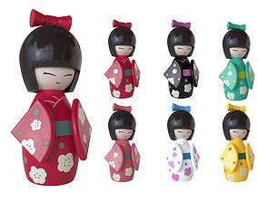 3D model Kokeshi Japanese doll