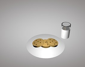 3D asset Low-Poly Cookies and Milk