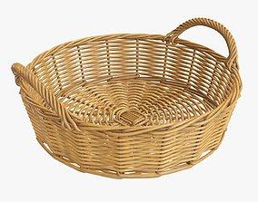 Wicker basket round with handle medium brown 3D model