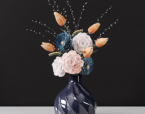 Decor bouquet of flowers in a glass vase 3D model