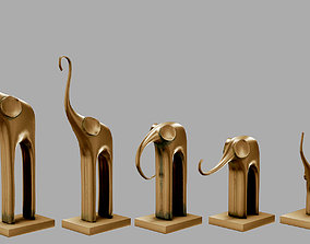 3D asset Low poly model Five elephants