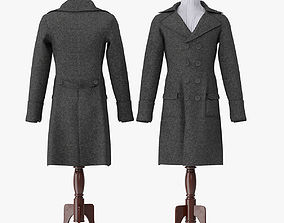Men Breasted Coat With Mannequin 3D model