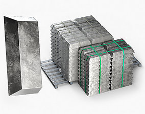 Aluminium Zinc Nickel Silver Titan Steel ingot 3D model