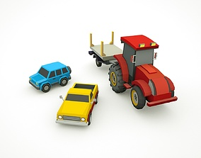 Toy Cars - Low Poly Cartoon Game ready asset 3D model