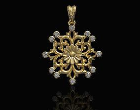 Gothic floral pendant 3D printable model
