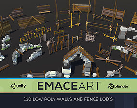 3D model Low Poly Fences and Wall Bundle Pack 1-3 LODS