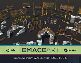 3D asset Low Poly Fences and Wall Bundle Pack 1-3 LODS