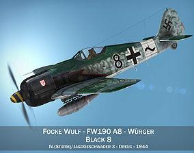 3D model Focke Wulf - FW190 A8 - Black 8 fighter
