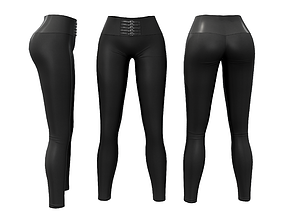 Skinny Pants Leggings With Straps 3D asset