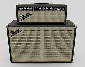 Black Vintage 1964 Fender Bassman 6G6B Tube Amp 3D model