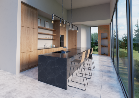 3D visualization of modern kitchen furniture.