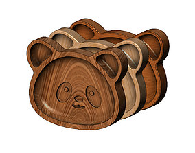 Panda wooden bowl 3D print model