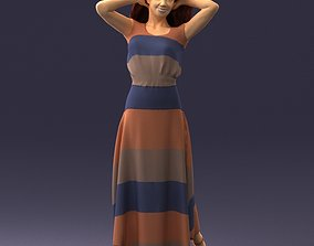 Woman in colored dress 3D Print Ready