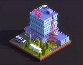 Cartoon Low Poly TV Building 3D model
