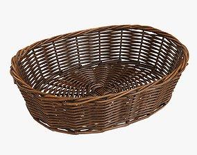 3D model Wicker basket oval dark brown
