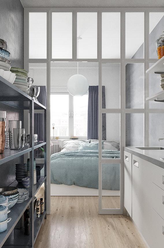 Adjacent Bedroom and Kitchen