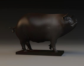 Pig Sculpture animal decoration copper pig sow 3D