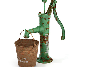 3D model Vintage Water Hand Pump With Bucket
