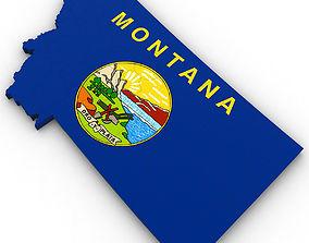 Montana Political Map 3D
