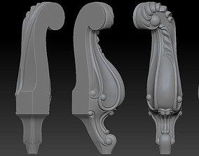 CABRIOLE CARVED Furniture Leg 3D Models set 2