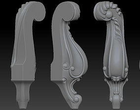 CABRIOLE CARVED Furniture Leg 3D Models set - 07