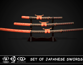 Set of japanese swords 03 3D