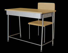 3D asset VR / AR ready School Table and chair set 01