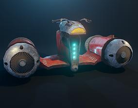3D model animated Retro futuristic flying motorbike