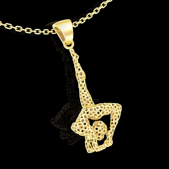 Ballerina Voronoi Pendant jewelry Gold 3D print model