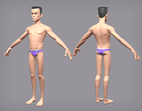 Cartoon male character Den base mesh 3D model low-poly