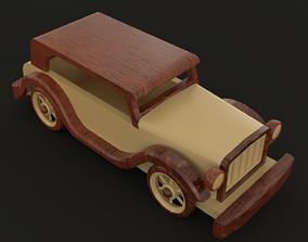 RETRO WOODEN CAR TOY 3D model
