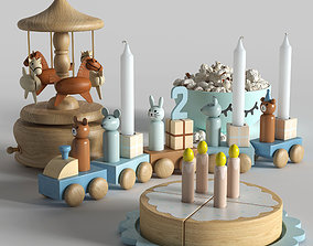 Set of toys with a cake 3D