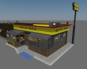 Waffle House - realistic PBR textured low-poly 3D asset
