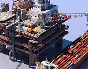 Oil Rig And Tanker 3D