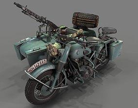 German motorcycle with sidecar WW2 Shwarz game-ready 2