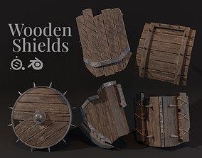 3D asset Wooden Shields