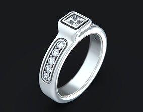 Princess Diamond Engagement Ring 3D printable model