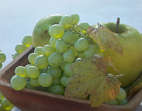 Fruit Bowl - Grapes Leaves Apples Cut Damast 3D model