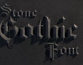 Elegant medieval gothic letter A-Z 3D