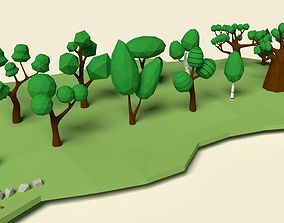 3D asset game-ready Low Poly Tree Pack