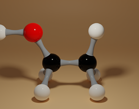 Ethanol Molecule C2H6O 3D asset